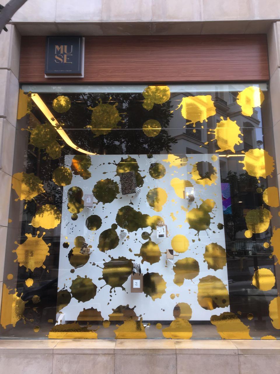 Golden window display